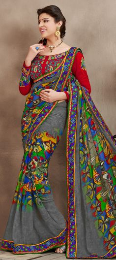 Black and Grey color family Party Wear Sarees with matching unstitched blouse