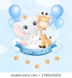Illustration Art Drawing, Art Drawings, Cute Fantasy Creatures, Safari, Balloons, Cute Animals, Clip Art, Baby Shower, Crafts