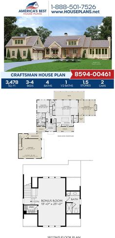 Looking for the perfect Courtyard Entry? Plan Craftsman 8594-00461 is perfect, offering you 3,478 sq. ft., 3-4 bedrooms, 4.5 bathrooms, a bonus room, a mud room, a covered porch, and a sreened porch. Find out how to make this Craftsman design yours on our website today.