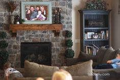 DIY Photo frame with only 4 materials! Love it -From Door Step to Mantle in Under 72 Hours Home Living Room, Living Room Decor, Dining Room, Homemade Frames, Large Family Portraits, Powder Room Decor, Rock Fireplaces, Large Frames, Frames For Canvas Paintings