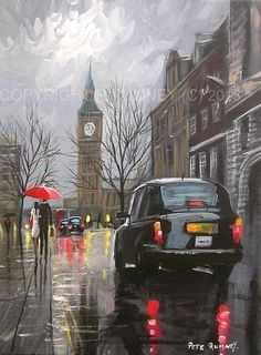 "Képtalálat a következőre: ""big ben by night painting"" Great Paintings, Beautiful Paintings, Original Paintings, Rainy Day Pictures, London Dreams, London Painting, Big Ben London, London Art, Art Plastique"