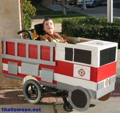 Fire truck Halloween wheelchair costume