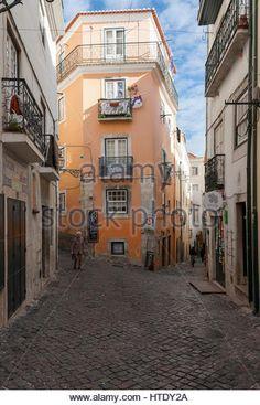 Narrow streets of Alfafama, Lisbon, Portugal - Stock Image