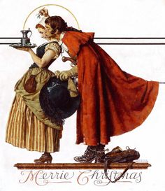 Under the Mistletoe Norman Rockwell