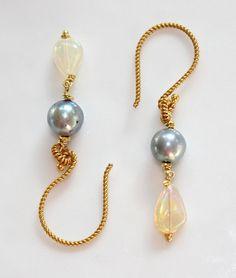 Ethiopian Opal Grey Akoya Pearl Gold Vermeil Twist Dangle Earrings