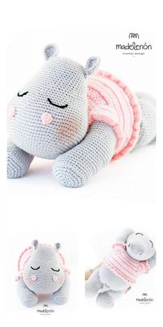Crochet Hippo, Crochet Amigurumi Free Patterns, Crochet Animal Patterns, Stuffed Animal Patterns, Crochet Animals, Crochet Baby, Cute Hippo, Baby Elefant, Crochet Stitches For Beginners