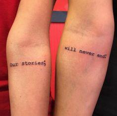 Best friend text tattoos by Rebecca Fedun