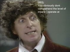 """""""You obviously don't comprehend the level of insane I operate at."""" This Fourth Doctor quote sums up my life. :)"""