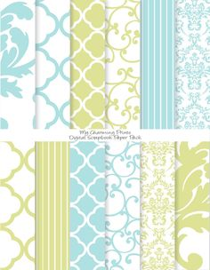 """French Blue and Green - Damask Floral Digital Paper Pack (8 1/2 x 11""""-300 dpi) - 12 Digital papers. $3.00, via Etsy."""