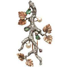 Buccellati Pearl Emerald Gold Floral Brooch