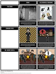 Jekyll and Mr. Hyde - Allegory: Have students create a Grid graphic organizer to ensure they understand Allegory in The Strange Case of Dr. Jekyll and Mr. Hyde by Robert Louis Stevenson. Plot Diagram, Jekyll And Mr Hyde, Robert Louis Stevenson, Education English, Graphic Organizers, English Language, Lesson Plans, Literature, Teaching