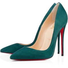 Christian Louboutin So Kate (£480) ❤ liked on Polyvore featuring shoes, pumps, heels, christian louboutin, sapatos, forest, pointy toe stiletto pumps, red sole pumps, high heel pumps and stiletto heel pumps