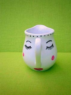 Krüge & Kannen - ♥ Sahnekännchen - Milchkännchen Gesicht - ein Designerstück von Hoch-Die-Tassen bei DaWanda