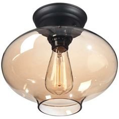 "Possini Euro Engels 10 1/2"" Wide Amber Glass Ceiling Light - #3C761 