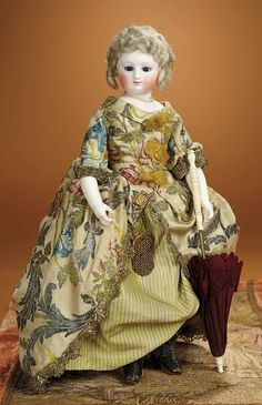 Bread and Roses - Auction - July 26, 2016: Lot #119 French Bisque Poupee with Superb Embroidered Silk Costume and Bisque Arms