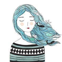 Whales in my hair Art Print by Tina van Dijk Art - X-Small Art Sketches, Art Drawings, Character Art, Character Design, Ocean Girl, Love Illustration, Cute Art, Art Inspo, Art Girl