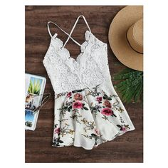 Floral Print Lace Paneled Criss Cross Backless Romper (970 INR) ❤ liked on Polyvore featuring jumpsuits, rompers, playsuit romper, criss cross romper, floral print romper, floral rompers and flower print romper