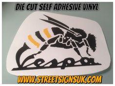 VESPA WASP  die cut  self adhesive vinyl black and yellow gloss  8cm x 8cm  | eBay