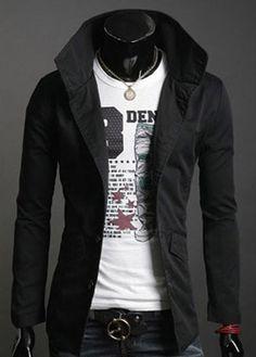 Korean Style Skinny Men Long Sleeve Single-breasted Black Blends Jacket Coat…