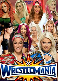 Raw Women's Champion Bayley, SD Women's Champion Alexa Bliss Nikki Bella Maryse Mickie James Sasha Banks Carmella Nia Jax Charlotte Natalya & Becky Lynch at Wrestlemania Womens Royal Rumble, Lilian Garcia, Tamina Snuka, Rosa Mendes, Nia Jax, Mickie James, Raw Women's Champion, Eva Marie, Sasha Bank