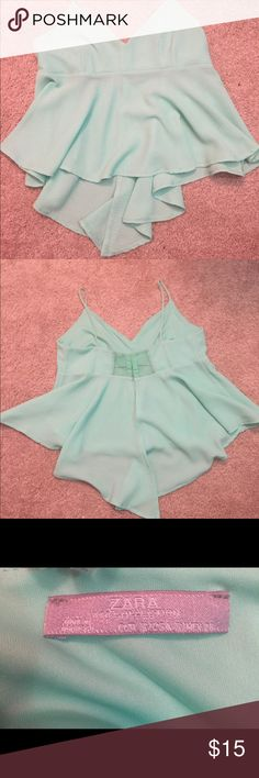 Light turquoise colored loose crop top. Crop top is tighter on top and loose on bottom. Open to offers. Zara Tops Crop Tops
