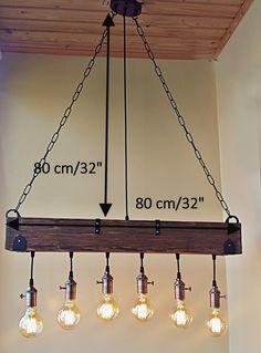 Rustic Light Bulbs, Rustic Lighting, Diy Kitchen Lighting, Rustic Light Fixtures, Kitchen Ceiling Lights, Hanging Light Fixtures, Rustic Lamps, Home Lighting, Wooden Chandelier