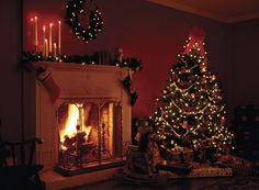 Get warm with this Christmas Fireside image on your Charity Christmas Card