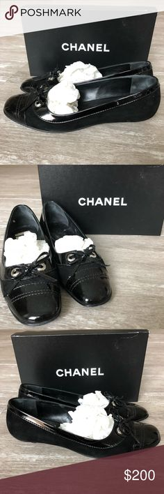 60dcf5b4868f 9.5B CHANEL BLACK KITTEN HEEL FLATS PRICE TAG CANNOT BE REMOVED FROM THE