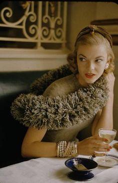 Vogue 1956 | Vintage 1950s Glamour | Chic Fashion Inspiration | Vintage Fur | Hat | Bangles | Cocktails | Madmen | Mad Men | Diva | Pinup | Cheesecake | Beauty