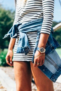 Stripe dress & denim jacket.