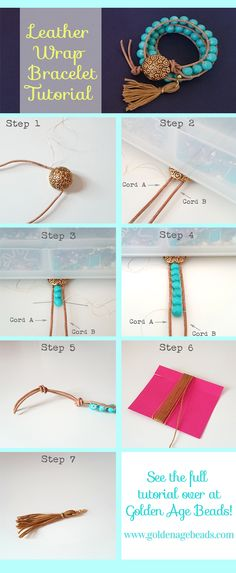 How to make a DIY Leather Wrap Bracelet from Golden Age Beads. So easy and perfect for spring/summer 2015!
