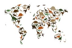 Dinosaur World Map Multicolor - Fototapeter & Tapeter - Photowall