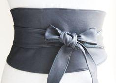 Wide Navy Leather Obi Belt Corset Waist Belt by LoveYaaYaa