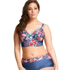 a74e6ba6b1f Love this Blue   Red Floral Roxy Full-Fit Long-Line Bra - Women   Plus by  Elomi on