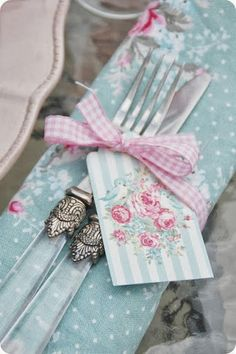This Is A Lovely Idea ~ Use A Ready Made Gift Tag & Gingham Ribbon To Tie Round Cutlery That Ties In With The Colour Theme, Here Pink & Blue x