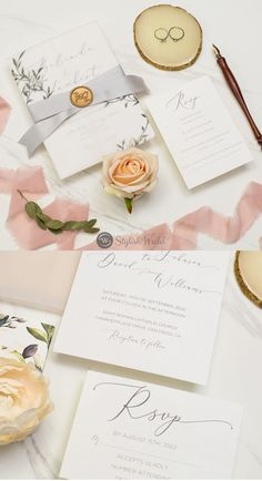 The vellum jacket which has a watercolor leaf design holds an invitation perfectly. Perfect for any season and this is an invitation that is sure to impress. The wax seal, vellum wrap, and silk ribbon are included.