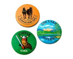 Vintage British Holiday Souvenir Badges - The Lake District, York, Cambridgeshire