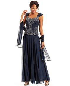 48dc68f2434 J Kara Beaded Bodice Chiffon Gown and Scarf Women - Dresses - Macy s. Mother  Of Groom ...