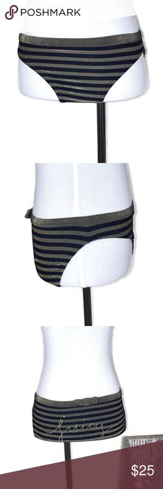 5f935e34dab4d Juicy Couture Gold Navy Striped Bikini Bottom S Juicy Couture Beach navy  blue and gold sparkly