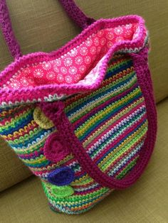 This rainbow tote bag pattern by Crafternoon Treats provides all the instructions you need to make a super stylish crochet handbag.