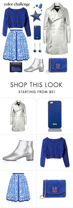 """""""Blue and Silver"""" by jasminerb ❤ liked on Polyvore featuring Yves Saint Laurent, Brahmin, Topshop, Dolce&Gabbana, Ted Baker, NARS Cosmetics, women's clothing, women, female and woman"""