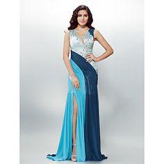 Formal+Evening+Dress+-+Multi-color+Plus+Sizes+/+Petite+Sheath/Column+V-neck+Sweep/Brush+Train+Chiffon+–+USD+$+129.99