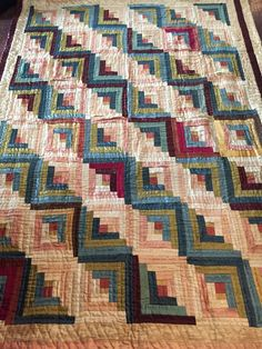 ANTIQUE 1800'S HANDMADE LOG CABIN PATCHWORK QUILT  SATIN SILK COTTON