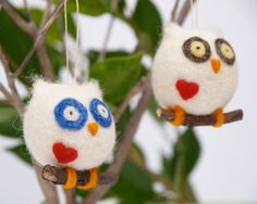 Felt Christmas Ornament Owl Needle Felted Wool Gift by Fairyfolk, $18.00