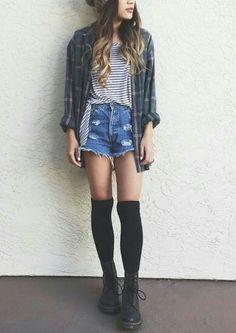 bdd26bb5c663c doc martens, shorts, striped tshirt, shirt, knee socks Knee High Socks  Outfit