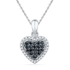 1/4+CT.+T.W.+Enhanced+Black+and+White+Diamond+Heart+Pendant+in+Sterling+Silver