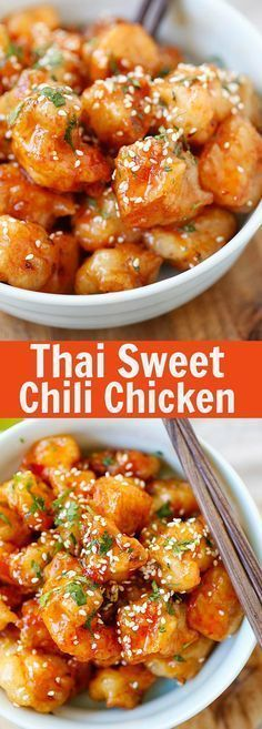 Thai Sweet Chili Chicken – amazing and best-ever chicken recipe with sticky, s. - Thai Sweet Chili Chicken – amazing and best-ever chicken recipe with sticky, sweet and savory swe - New Recipes, Dinner Recipes, Cooking Recipes, Healthy Recipes, Family Recipes, Thai Food Recipes, Favorite Recipes, Thai Chicken Recipes, Recipies