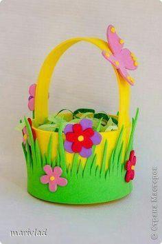 spring basket decor for home Kids Crafts, Animal Crafts For Kids, Foam Crafts, Diy And Crafts, Paper Crafts, Spring Crafts, Holiday Crafts, Basket Crafts, Diy Ostern