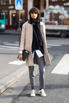 winter coat and adidas sneakers