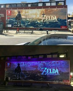 Excelente publicidad para Breath of the Wild emcontrada en NYC! #gaming #videogames #breathofthewild #ads #newyork #thelegendofzelda #nintendo botw sign billboard poster glow in the dark